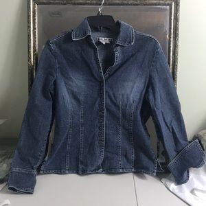 A.M.I Denim jacket shirt with tailored waist Sz S
